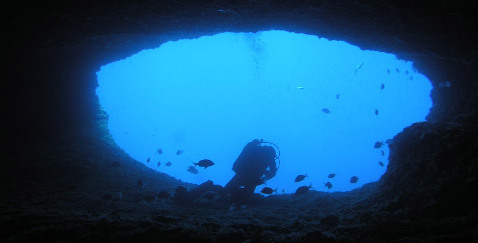 """The """"Belvedere"""" upside south hole in Nereo Cave"""